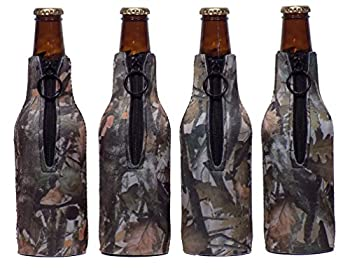 Authentic Hunting Camouflage Neoprene Beer Bottle Coolers with Zippers, Set of 4 - By Smart Tart