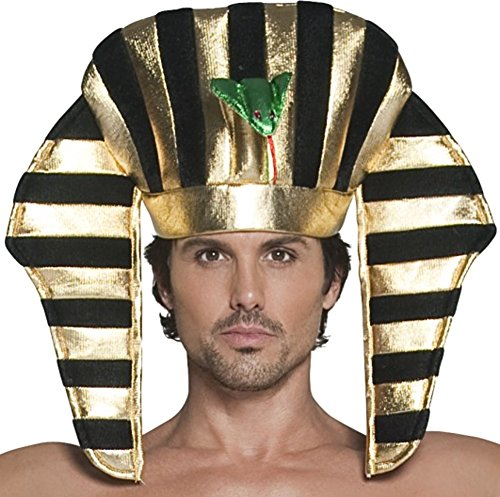 Smiffys Men's Pharaoh Headpiece, Black & Gold, Soft, One Size, -