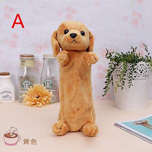 Lovely Cartoon Dog Puppy School Pencil Bag/Case Cosmetic Makeup Pouch Plush Doll for Children Kids Girls' Gift Golden Retriever 18cm ()