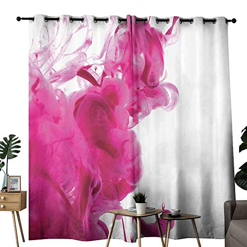 (Novel Curtains Magenta Decor Color Splash Pastel Colored Hazy Flame Like Watercolor Show Style Punch Pink White Blackout Draperies for Bedroom Window W108)