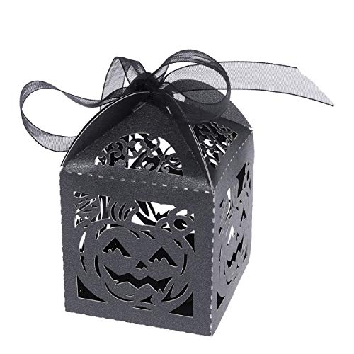 Amosfun 50pcs Hollow Boxes Candy Bags Chocolate Gift Boxes Bridal Birthday Shower Halloween Gift Boxes with Ribbons and Pumpkin Pattern (Black)