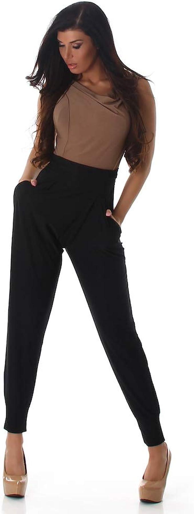 Tuta Intera Donna Overall Jumpsuit Bicolore Tutina Pantaloni con Cintura Blanco Store
