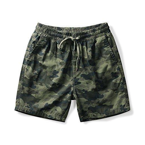 Drawstring Twill Shorts - OCHENTA Men's Elastic Waist Drawstring Camo Twill Cargo Shorts Dark camo Tag S - US 29