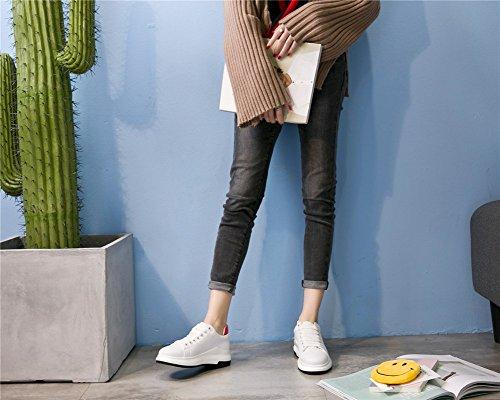 Zum Gehen Schuhe Damen Damenschuhe Leder 39 Einkaufen Mischfarben Reisen Winter Athletische Flache A Neue Freizeitschuhe Schuhe Kleine Weiße Herbst Up Lace awqBZ