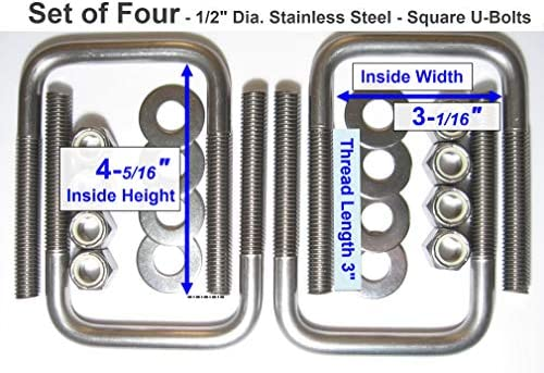 4 STAINLESS STEEL Square U-Bolts Boat Trailer 1//2 D x 3 1//16 W x 4 5//16 L