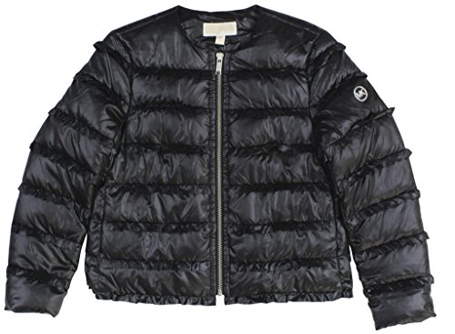 MICHAEL Michael Kors Women's Ruffled Puffer Jacket X-Large Black