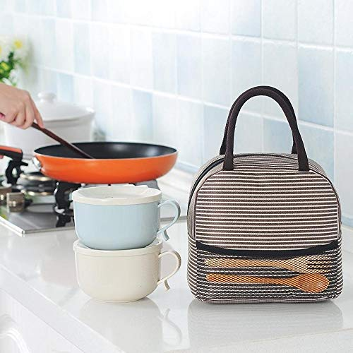 Pinsparkle Portable Striped Print Insulation Keep Fresh Outdoor Handheld Lunch Bag Lunch Bags