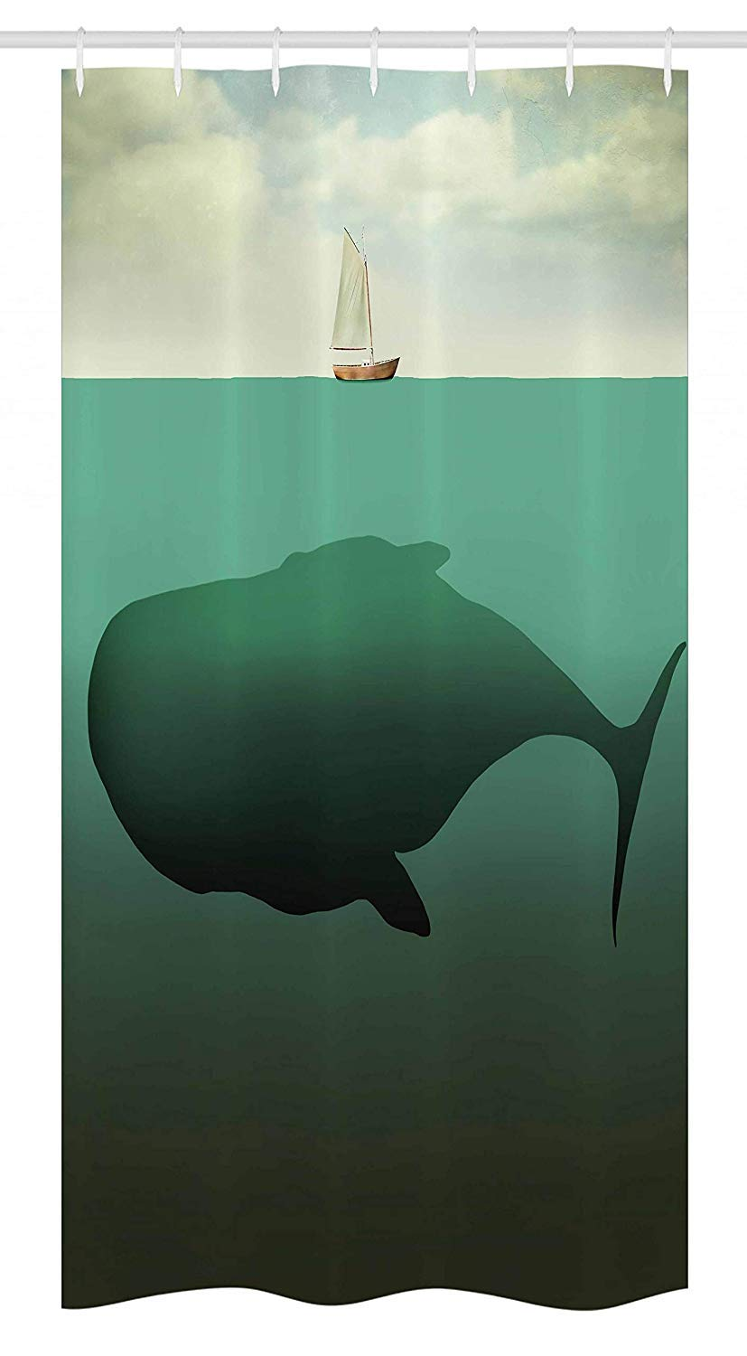 Custom Made Fantasy Stall Shower Curtain, Surreal Giant Whale in The Middle of Sea and Little Sailboat on The Surface Print, Bathroom Fabric Curtains Bath Waterproof, 72 x 84 Inches Green Beige