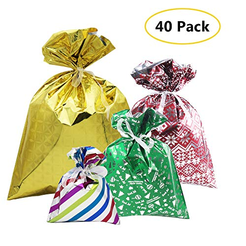 40Pcs Gift Bag Set in 4 Sizes and 4 Designs, with Ribbon Ties