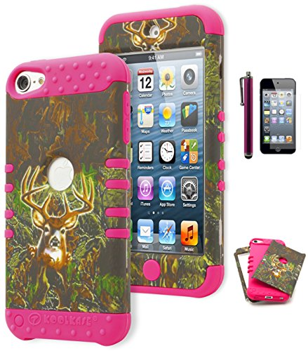 iPod Touch 5 Case, Bastex Hybrid Protective Soft Neon Pink Silicone Cover Hard Deer Camo Design Case for Apple iPod Touch 5INCLUDES SCREEN PROTECTOR AND STYLUS [Compatible with iPod Touch 6]