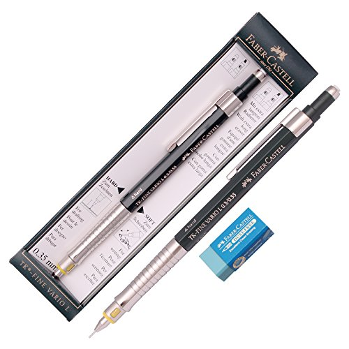 Faber Castell Tk Fine Vario L Drafting Mechanical Pencil 0.35 Mm +Packing Case / Gift Eraser