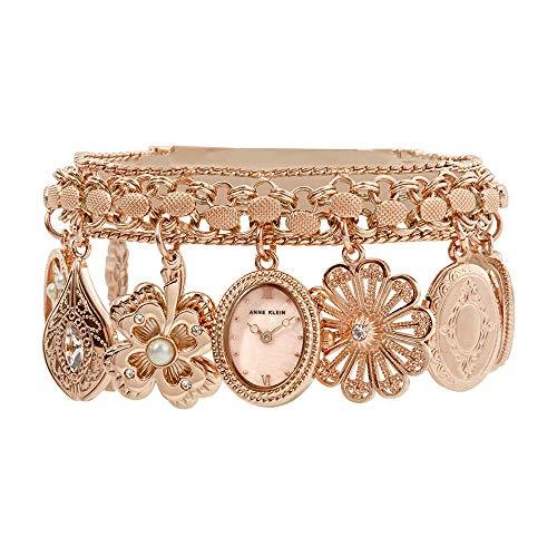 Anne Klein Women's  Swarovski Crystal Accented Rose Gold-Tone Charm Bracelet Watch (Ak Anne Klein Gold Charm Bracelet)