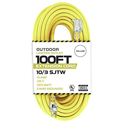 100 Foot Lighted Outdoor Extension Cord - 10/3 SJTW Yellow 10 Gauge Extension Cable with 3 Prong Grounded Plug for Safety - Great for Garden and Major Appliances (10 Gauge Cord)