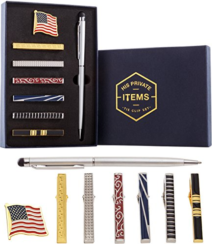 [Tie Bar Clip Set for Men -[6 Pc]- Pinch / Hold Classic Regular Ties - Gift Box] (Do It Yourself Monster High Costume)