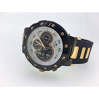 Armbanduhr PRYNGEPS A425 Herren 3bis CR523 Quarz (Batterie) Stahl Quandrante bicolor Armband Silikon