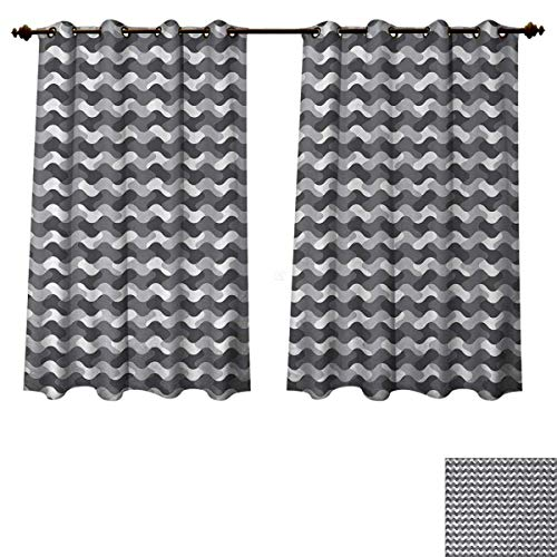 Anzhouqux Grey Bedroom Thermal Blackout Curtains Minimalist Gradient Wavy Flat Lines Influences Retro Stylized Print Drapes for Living Room Smoke White W55 x L45 inch