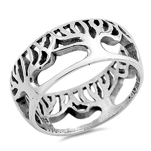 Eternity Tree of Life Cutout Ring .925 Sterling Silver Filigree Band Size 10 ()