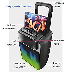 Wireless Portable Party Speaker, Outdoor Stereo Bluetooth Speaker, Clear and Big Sound, Handle&Foot Wheels to Move, Black