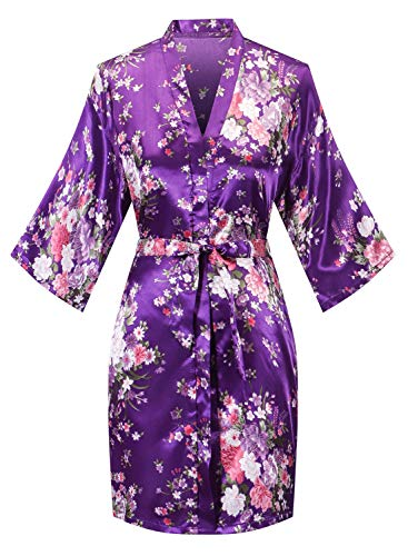 Robes for Women Lightweight Long Sleeve Bathrobe Knee-Length Spa Robe Cherry Blossoms Embroidered with Belt Purple XL-Size