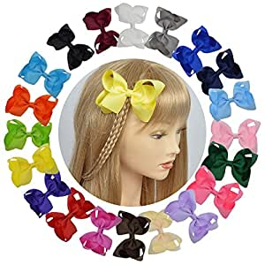 LCLHB Grosgrain Ribbon Bow With Alligator Clips For Babies Teens and Juniors (4 Inch and Pack of 20)