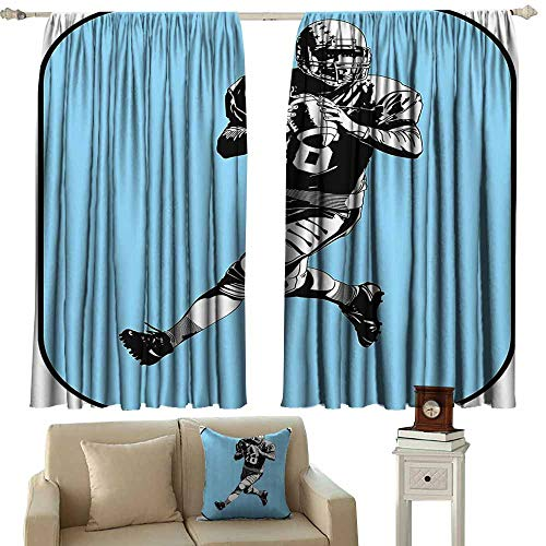 Anyangeight Decor Curtains by Sports Decor,American Football League Game Rugby Player Run Original Kitsch Retro Illustration,Blue Black White 54