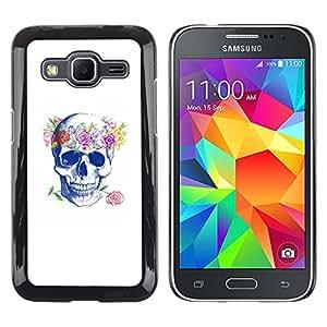 MobileHut / Samsung Galaxy Core Prime SM-G360 / Floral Wreath Spring Love Rose Skull / Delgado Negro Plástico caso cubierta Shell Armor Funda Case Cover