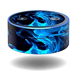 MightySkins Protective Vinyl Skin Decal for Amazon Echo Dot (1st Generation) wrap cover sticker skins Blue Flames