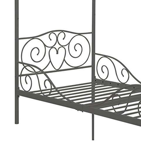 DHP Canopy Metal Bed Frame, Twin Size, Silver