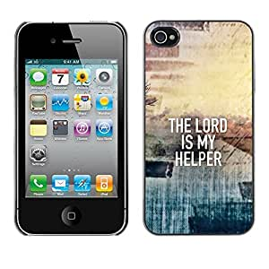 Paccase / Dura PC Caso Funda Carcasa de Protección para - BIBLE The Lord Is My Helper - Apple Iphone 4 / 4S