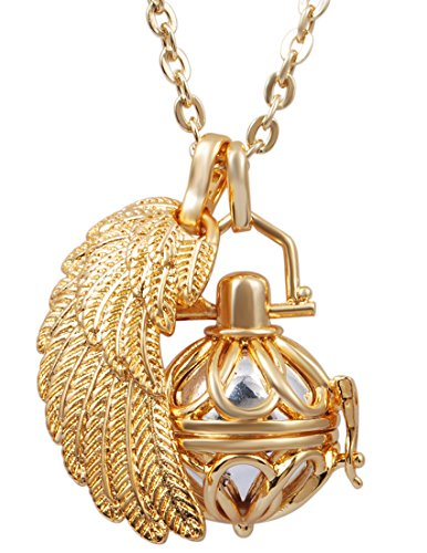 (EUDORA Harmony Ball Chime Locket Pendant Angel Chime Caller Pregnancy Bola Gold Chain Necklace)