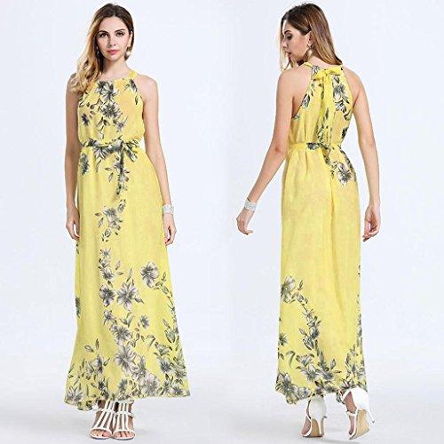Angelof Longue Grande Imprimé Maxi Jaune Femmes Habillées Floral Sans De Taille Plage Dames Bohème Robe Été Manches qBrBAwX1