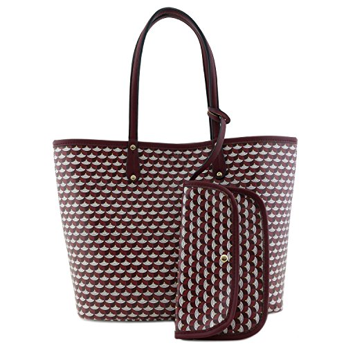 Reversible Bag Pattern (Large Reversible Tote Bag with Geometric Pattern Wine/Light Pink)