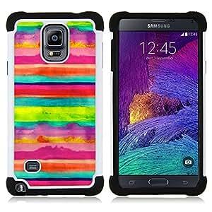 """Hypernova Híbrido Heavy Duty armadura cubierta silicona prueba golpes Funda caso resistente Para Samsung Galaxy Note 4 IV / SM-N910 [Arte Rayas Niños alegre feliz""""]"""