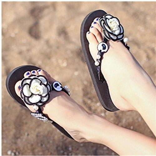 Kaka (tm) Mujeres Fashion Rhinestone Glitter Tachonado Sandalias De Correa De Cristal Flip Flops Zapatos Planos Sandalias £ ¨7-8 £ © White Black
