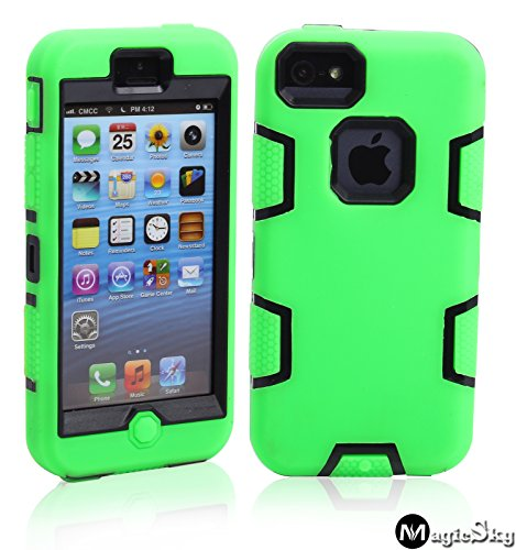 5C Case, iPhone 5C Case Cover, Magicsky Full Body Hybrid Impact Shockproof Defender Case Cover for Apple iPhone 5C, 1 Pack(Black/Green)