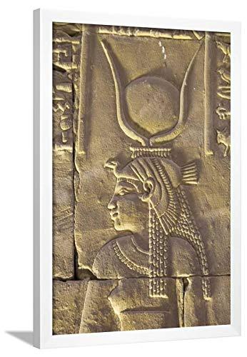 ArtEdge Relief Depicting The Goddess Hathor, Temple of Horus, Edfu, Egypt, North, Africa by Richard Maschmeyer, Wall Art Framed Print, 30x20, White ()