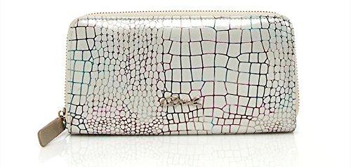 AXEL brillante diseño de patrón de tela BLANC PORTE MONNAIE de piel de cocodrilo: Amazon.es: Ropa y accesorios