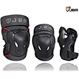 JBM BMX Bike Knee Pads and Elbow Pads with Wrist Guards Protective Gear Set for Biking, Riding, Cycling and Multi Sports Safety Protection: Scooter, Skateboard, Bicycle, Rollerblades