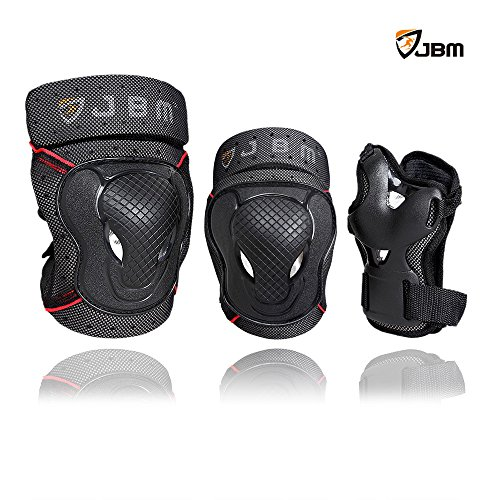 JBM Youth BMX Bike Knee Pads and Elbow Pads with Wrist Guards Protective Gear Set for Biking, Riding, Cycling and Multi Sports Safety: Scooter, Skateboard, Bicycle, Rollerblades (Black, Youth / Teens)