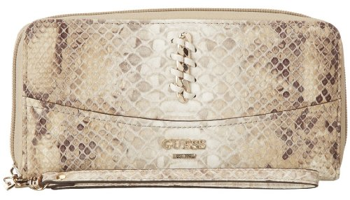 GUESS Abbey Ray SLG Zip Around Clutch Wallet, Natural