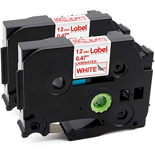 Label KINGDOM Compatible with P-Touch TZe Tapes Red on White TZe-232 TZ-232 Laminated Label Tape 12mm 0.47 Inch Work with Ptouch PT-D210 PT-D400 PT-9600 PT-2030 Label Maker, 26.2 Feet 8m, 2-Pack