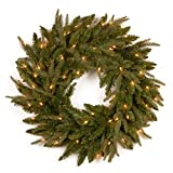 National Tree 24 Inch Feel Real Fraser Grande Wreath with 70 Clear Lights (PEFG4-330-24W)