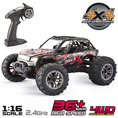 10 Electric Rc Car - VATOS RC Car High Speed Off-Road Vehicle 1:16 Scale 36km/h 4WD 2.4GHz Electric Racing Car Remote Control Buggy Vehicle Truck Buggy Crawler Toy Car for Adults and Kids