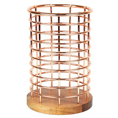 Creative Home Deluxe Acacia Wood and Wire Utensil Tool Holder with Copper Finish, NA - Wire Utensil Holder