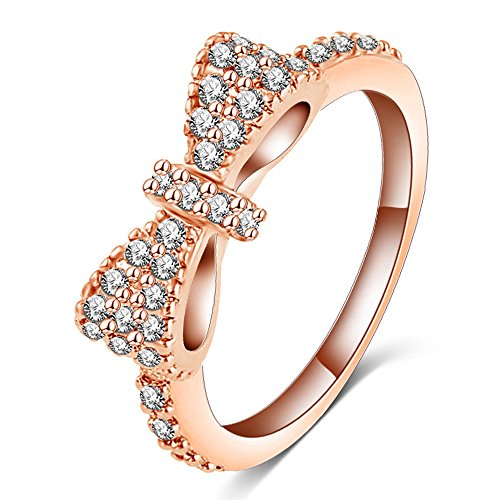 (DINGFASHION Fashion 18K Rose Gold Plated Cute Bow Ring,Engagement CZ Diamond for Women and Girls)