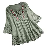 Women Vintage Lace Patchwork Bow V-Neck Three Quarter Blouses Top T-Shirt Green