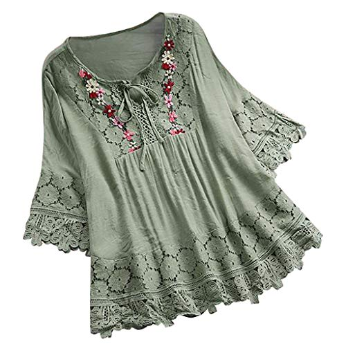 (Aniywn Women Round Neck Lace Up Lace Patchwork Flare Pullover Top Casual Plus Size 3/4 Sleeve Floral Printed T-Shirt Green)