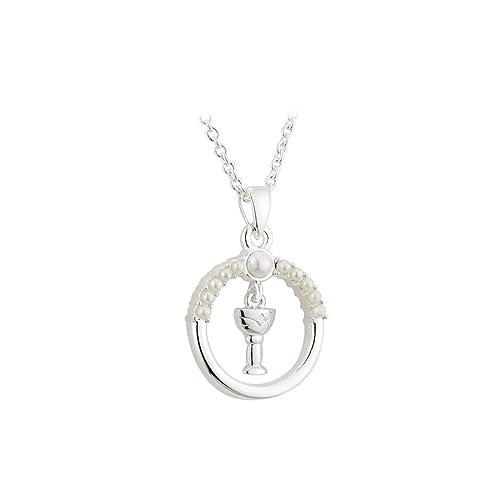 Bañado en plata Pearl y comunión cáliz círculo colgante