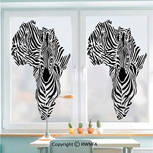 RWNFA Window Films Privacy Glass Sticker Illustration of African Map with Zebras Camouflage Stripes Patterns Cultural Print Static Decorative Heat Control Anti UV 22.8In by 35.4In,Black White
