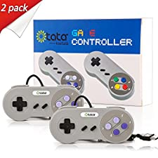 kiwitatá Super Style USB Controller, SNES to USB Controller for PC/Mac (Grey/Purple Keys 2Pack)